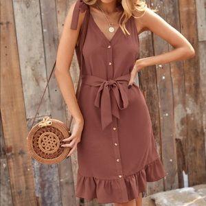 Boho solid shoulder knotted dress